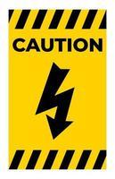 Precaución signo símbolo de alto voltaje aislar sobre fondo blanco.