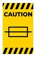 signo de símbolo de fusible de precaución sobre fondo blanco