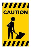 Caution Men At Work Symbol Sign Isolate on White Background,Vector Illustration vector