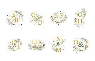 boda inicial monograma floral y plantilla de hojas. vector