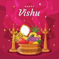 Happy Vishu Element and Equipment vector