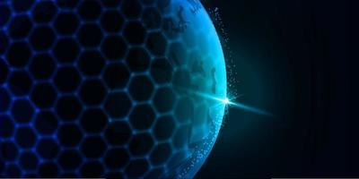 round hexagonal globe futuristic abstract background technology with blue color vector