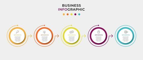 Minimal Business Infographics template. Timeline with 5 steps, options and marketing icons .Vector linear infographic with two circle conected elements. Can be use for presentation vector