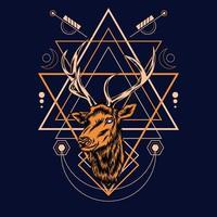 Cabeza de ciervo con patrón de geometría sagrada sobre fondo negro-vector ilustración retro vector