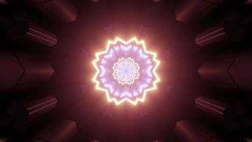 portal de espaço mágico em ilustração 3D de luzes de néon