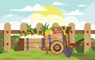 tiempo de cultivo y cosecha en el jardín de belleza. vector