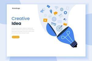 Creative idea landing page website template vector