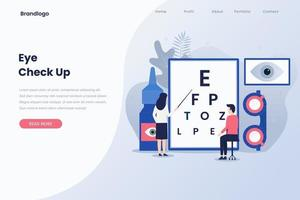 Ophthalmologist check up illustration landing page vector
