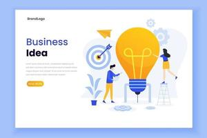 Landing page template of business idea vector
