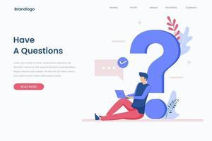 concepto de página de destino de ilustración de preguntas frecuentes vector