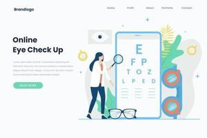 Online Eye check-up landing page template vector