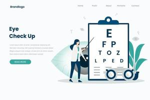 Eye check up landing page template vector