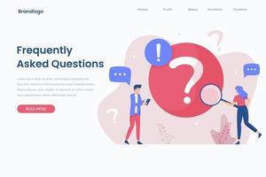 Ilustración de la página de destino del concepto de preguntas frecuentes vector