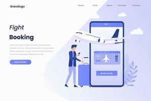 Flight tickets online booking illustration landing page vector