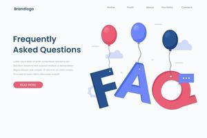 plantilla de página de destino de preguntas frecuentes corporativas vector