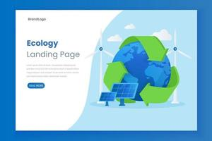 Ecology vector website landing page illustration concept with solar panel