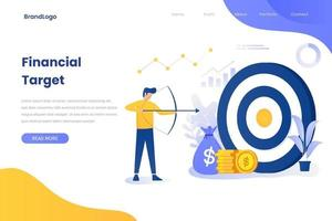 Financial target illustration concept landing page vector