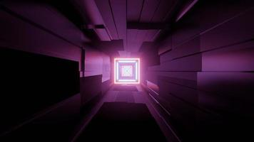 Motion in Futuristic Corridor with Neon Illumination 3d Illustration