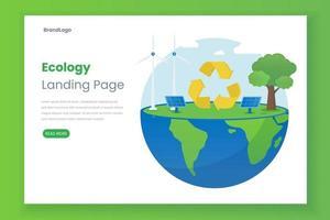 concepto de ilustración de página de destino de ecología con panel solar vector