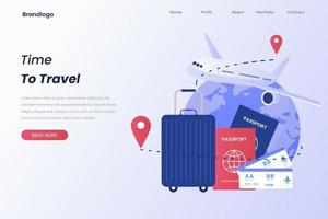 Illustration of time to travel for landing page vector