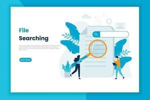 página de inicio del concepto de ilustración de búsqueda de archivos vector