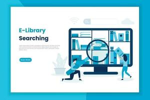 E-Library searching concept landing page vector