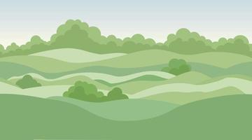 Fondo de paisaje rural con prados y campos. vector