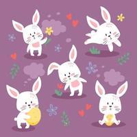 conjunto de lindos conejitos de pascua. preciosa colección de conejitos. ilustración vectorial, estilo plano de dibujos animados. pequeños gatitos en diferentes poses, sosteniendo flores y huevos, aislados. vector