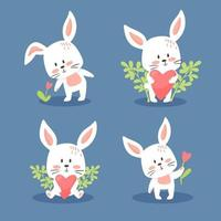 Set of cute Easter or Valentine bunnies. Lovely little rabbits collection. Vector illustration, cartoon flat style. Small kittens in different poses, holding flowers and hearts, isolated