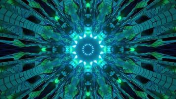 Ilustração 3D do túnel escuro em movimento em forma de flor