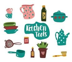 Kitchen shelves with cooking utensils and tools in flat style. vector