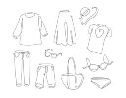 Woman wear in simple line art style. One continuous line clothes set. Vector collection of women fashion shirt, underwear, bag,