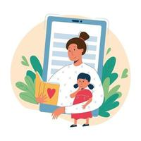 Online babysitting and education concept vector flat