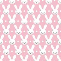 Seamless pattern with cute rabbit muzzles, flat handdrawn style. Geometric ornament with little bunnies. Kittens pretty heads with little ears. Rhombus greed style pattern vector illustration