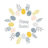 Round Easter wreath with painted eggs and floral branches and leaves, minimalist Scandinavian nordic folk style, vector illustration isolated