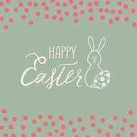 tarjeta de felicitación de pascua feliz. Fondo de vacaciones de primavera con conejito de conejo y letras escritas a mano feliz pascua sobre línea dibujada huevos de iconos de pascua y fondo retro. vector