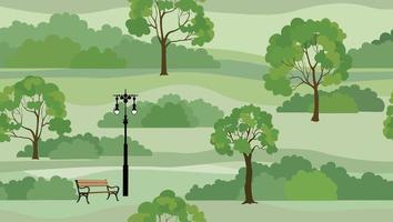 Fondo de paisaje rural. perfecta vista del horizonte del parque de naturaleza de verano. patrón de mosaico de árboles de jardín vector