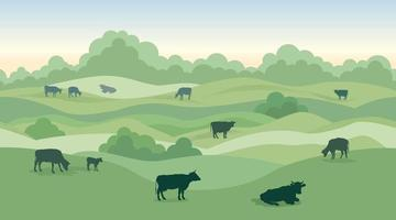 Rural dairy farm landscape with cows over seamless panoramic countryside horizon. Hills, meadows, trees and fields skyline. Summer nature background. Pasture grass for cows.