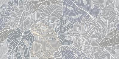 Floral seamless pattern with tropical leaves. Nature lush background. Flourish garden texture with line art different palm leaves vector