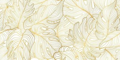 Floral seamless pattern with tropical leaves. Nature lush background. Flourish garden texture with line art leaves vector