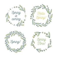 Hello spring, Spring is coming floral wreath collection, hand drawn vector illustration isolated on white. Decorative round frames with flowers and leaves, ink sketch
