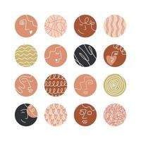 Collection of creative social media highlight covers, beauty, love, psychology theme. Design stories round icon collection. Abstract female and male faces, heads, hair, hearts. Vector illustration