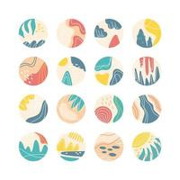 Collection of creative social media highlight covers, travel theme. Design stories round icon with floral elements collection.Sea, sun, beach, sand, mountains abstract. Vector illustration