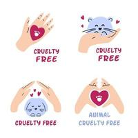 Pack of cruelty free badges. Hand drawn collection of animal testing ban labels. Not tested on animals, vegan cosmetic concept. Vector illustration.
