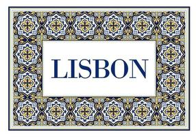 Lisbon city sign with frame of azulejos traditional portuguese ornament. Travel background with pattern ceramic of Portugal. vector