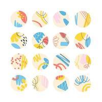 colección de portadas destacadas creativas de redes sociales diseño abstracto con manchas y líneas, estilo memphis. historias de diseño redondo colección de iconos. ilustración vectorial vector