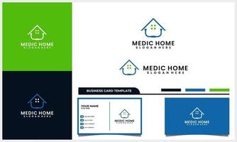 Medical stethoscope with home or house symbol logo concept and business set vector