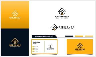 Honey bee with home or house logo concept and business card template set vector