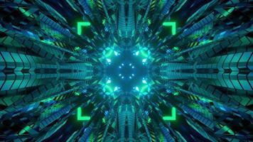 3d illustration du couloir en mouvement avec des néons video