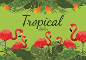 tropical leafs background green illustration vector design